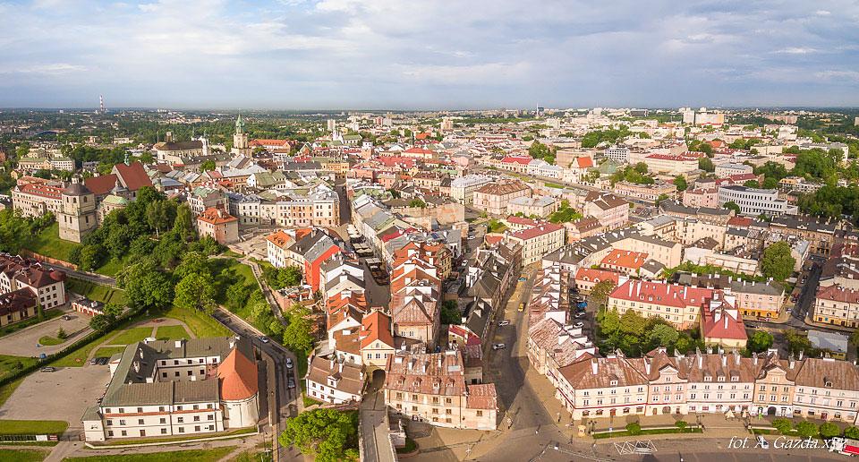 Lublin z lotu ptaka - brama Grodzka