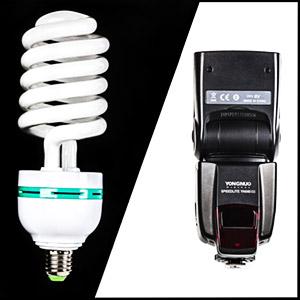 Żarówka fotograficzna i lampa błyskowa speedlite