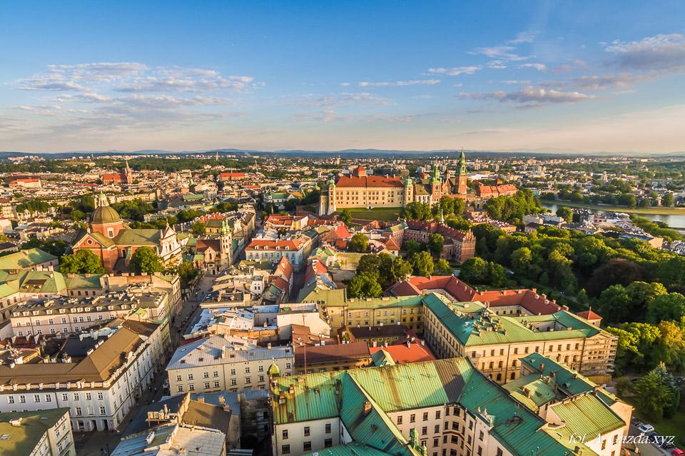 Kraków z lotu ptaka stare miasto