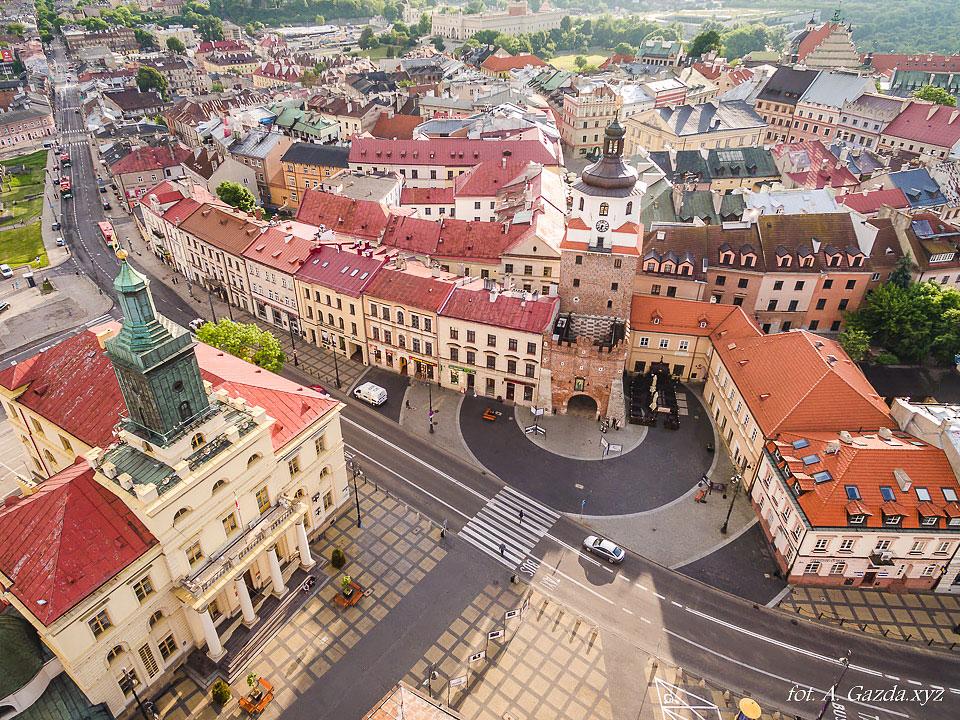 Brama krakowska - Lublin z lotu ptaka