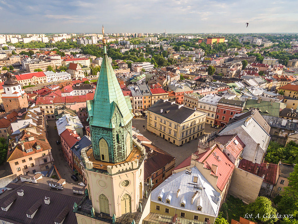 Wieża Trynitarska  - Lublin z lotu ptaka