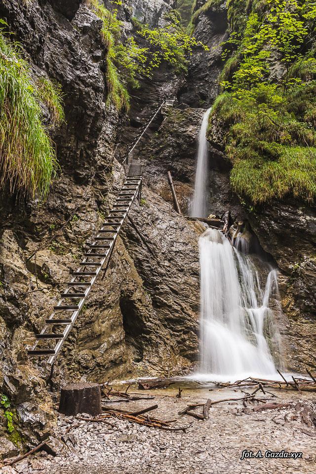 Wąwóz Suchá Belá wodospad i drabina