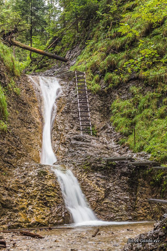 Wąwóz Suchá Belá wodospad i drabiny