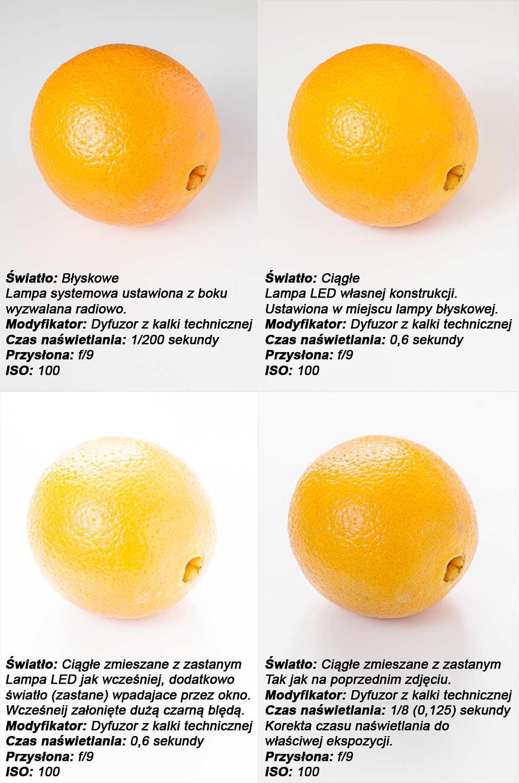 Różnice w oświetleniu ciągłym i błyskowym na przykładzie pomarańczy